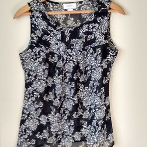 LOFT XS Petite Shear Black Tank Top White Flowers